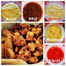 fried chicken with dipping sauce